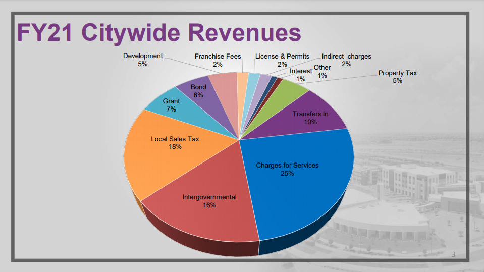A pie chart showing Citywide revenues and the percentages that they make up out of the FY21 budget.