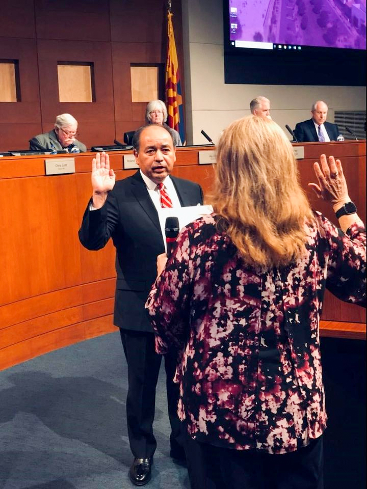 Presiding Judge Louis Frank Dominguez is administered the oath of office by City Clerk Sherry Aguilar.
