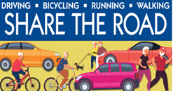 An infographic showing bicyclist, pedestrians and vehicles sharing the road.